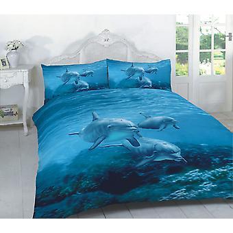 Animal print delfin fisk multi 3D Effect dynebetræk sengetøj sæt pudebetræk