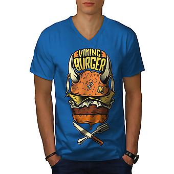 War Burger Food Funy Men Royal BlueV-Neck T-shirt   Wellcoda