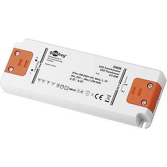 Goobay SET 24-30 LED delgado transformador LED Tensión constante 30 W 1.25 A 24 V DC no regulable, Aprobado para su uso en muebles