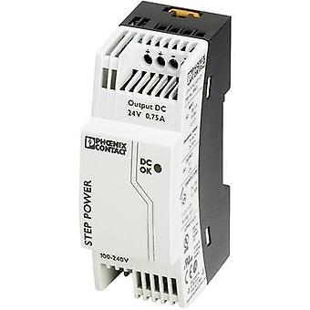 Phoenix kosketin STEP-PS/1AC/24DC/0,75 kisko asennettu PSU (DIN) 24 V DC 0,83 A 18 W 1 x