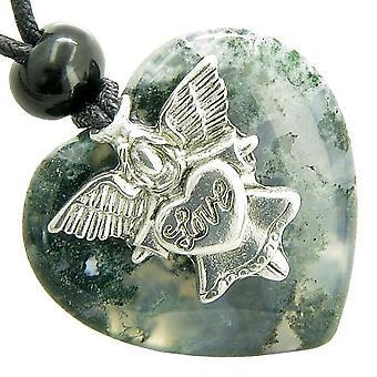 Guardian ande Angel Love hjärta lycka amulett grön mossa agat ädelsten halsband