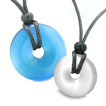 Großer Glücksbringer Münze Donuts positiven Kräfte am besten Freunde himmelblau Weiße Katzen Auge Halsketten