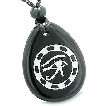 Amulett alla Seeing Eye av Horus forntida krets av livet andligt beskydd Onyx hängande halsband