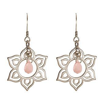 Boucles d'oreilles pour femmes GEMSHINE en 925 argent avec des fleurs de lotus mandala YOGA rose
