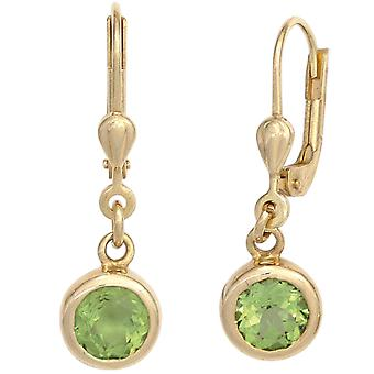 Peridot green boutons 585 Gold Yellow Gold 2 Peridote green earrings