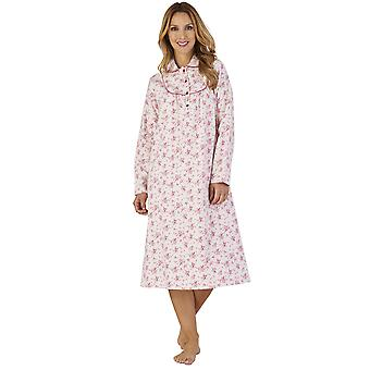Slenderella ND2211 ženy ' s luxusné flanelové kvetinové Nočná košeľa loungewear nočné šaty