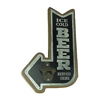 Ice Cold Beer Pointing Arrow Wall Mounted Bottle Opener