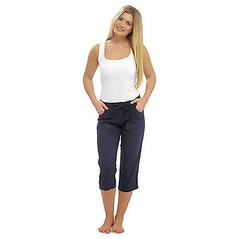 المرأة الصلبة اللون الكتان طولها 3/4 صالة القيعان بنطلون ارتداء السراويل