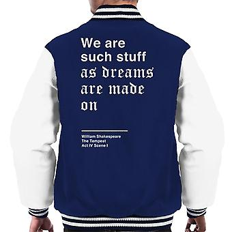 Jesteśmy takie rzeczy jak marzenia są wykonane na Szekspira burza cytat mężczyzn uniwerek kurtka