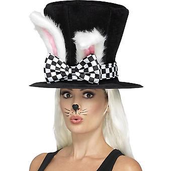 茶党三月兔顶帽, 黑色和白色, 附着兔子耳朵