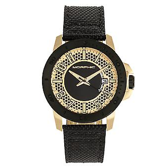 Morphic M70 Series Canvas-Overlaid Leather-Band Watch w/Date - Gold/Black