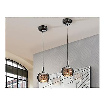 Schuller Art Deco Shimmered Crystal Dome Smoked Glass Pendant Light