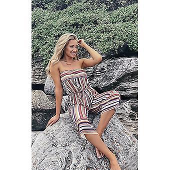 IKRUSH Womens Madison gestreepte Bandeau Wide Leg jumpsuit