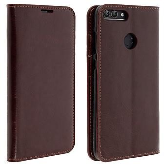 Business leather book case, stand case for Huawei P Smart - Brown
