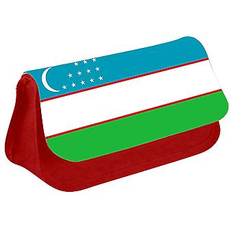 Uzbekistan Flag Printed Design Pencil Case for Stationary/Cosmetic - 0190 (Red) by i-Tronixs