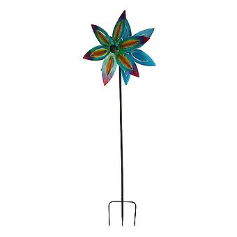 Colorful Metal Art Double Flower Garden Twirler Wind Spinner 74 inch Tall