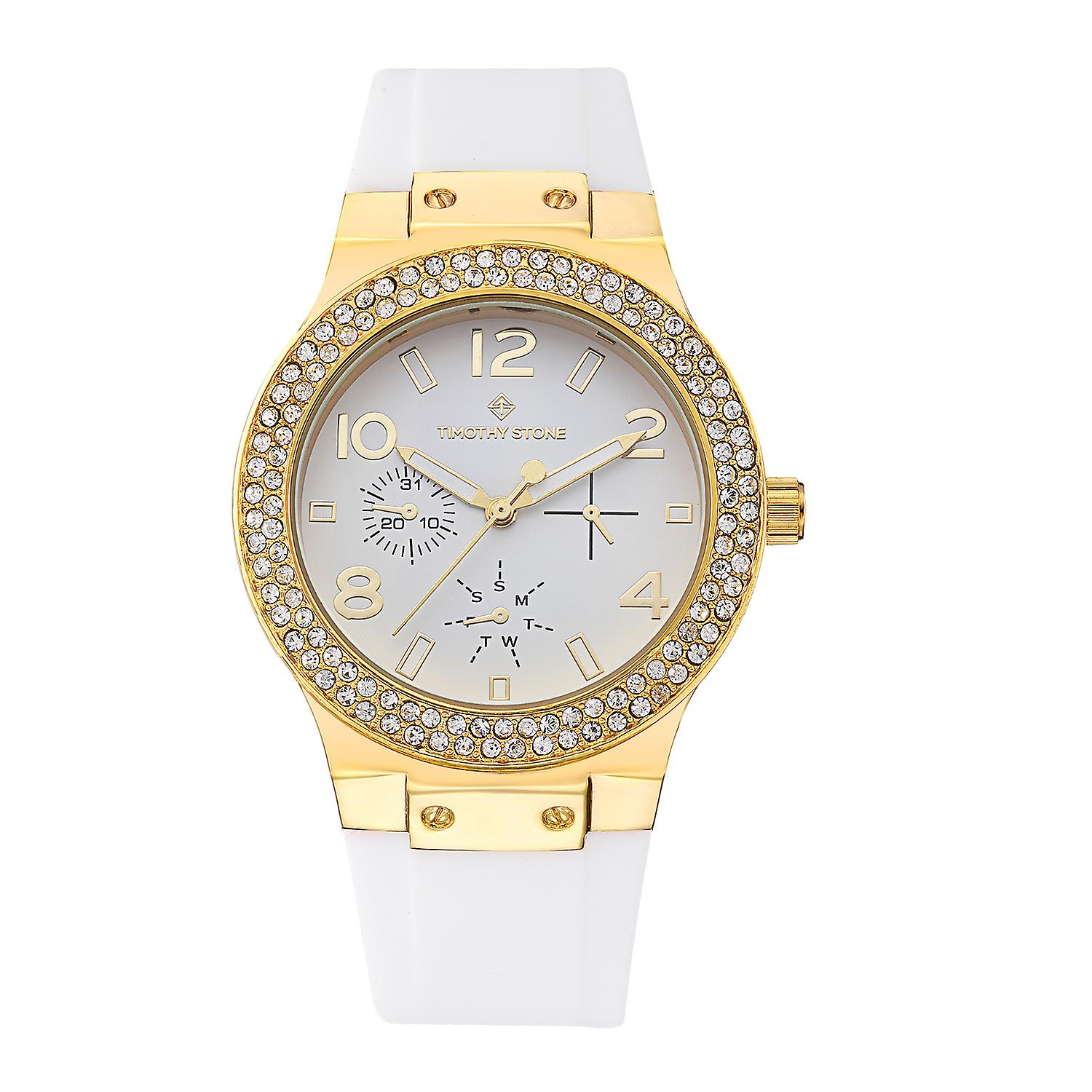 Timothy Stone Women's FA�ON-SILICONE Gold-Tone and White Strap Watch