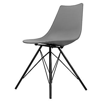 Fusion Living Iconic Mid Grey Plastic Dining Chair With Black Metal Legs