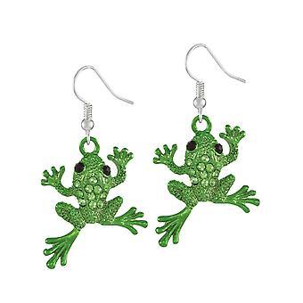 Ewige Sammlung Fred der Frosch grün Kristallsilber Ton Tropfen Ohrhänger