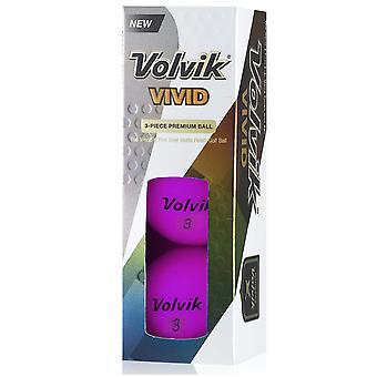 Volvik Vivid Golf ballen paarse mouw van 3 ballen