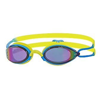 Zoggs Swimming Goggles Podium Mirror in Blue/Lime/Mirror - One Size