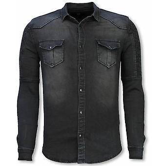 Biker Denim Shirt - Slim Fit Ribbing Stonewashed - Grey Blue
