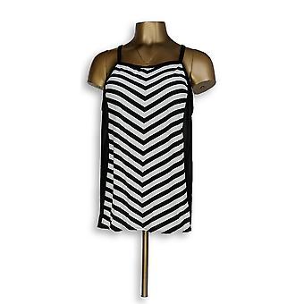 Denim & Co badedrakt strand stripe tankini topp svart A304228