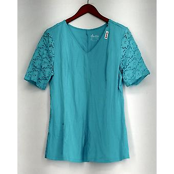 Denim et Co. Top Fit et Flare Stretch Stretch Elbow Sleeve Tee Blue A290115