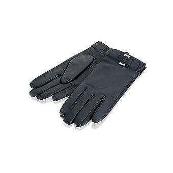 Ladies Navy Belted Leather Gloves