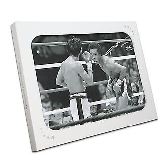 Sugar Ray Leonard signé photo boxe: Combats de Roberto Duran dans une boîte cadeau