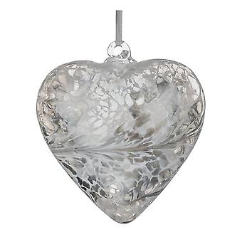 Sienna Glass 8cm Friendship Heart, Pastel Silver
