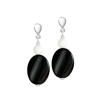 Eternal Collection Silhouette Black Agate And White Jade Semi Precious Drop Pierced Earrings