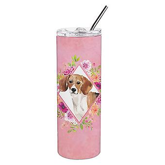 Beagle Pink Flowers Double Walled Stainless Steel 20 oz Skinny Tumbler