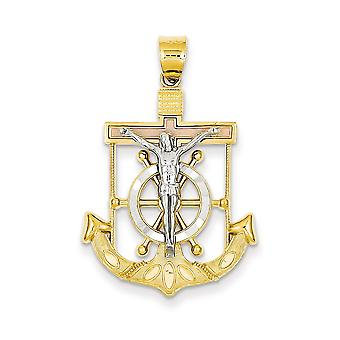 14k Tri-Color Solid Gold Sparkle-Cut Textured Mariners Cross Pendant - Measures 22.5x35.4mm