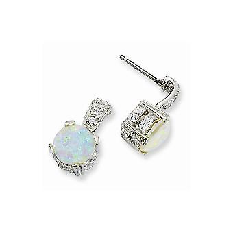 925 Sterling Silver Rhodium plaqué 8mm Syn Simulated Opal Cabochon et Cubic Zirconia Dangle Post Boucles d'oreilles Bijoux Cadeaux