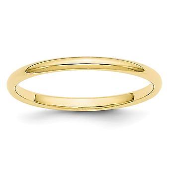 10k Ouro Amarelo 2mm Meia Rodada Anel Joias Joias para Mulheres - Tamanho do anel: 4 a 14