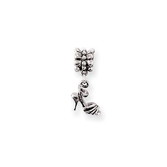 925 Sterling sølv antikk finish refleksjoner høy hæl sko Dingle perle sjarm