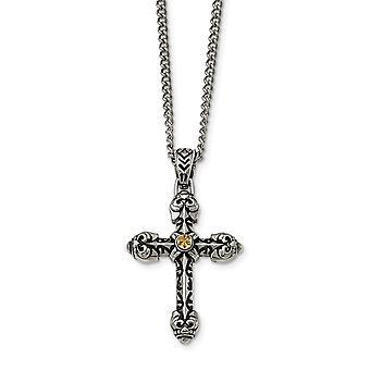 Edelstahl gelb Ip vergoldet Sparkle Cut Center religiösen Glauben Kreuz Halskette 24 Zoll Schmuck Geschenke für Frauen
