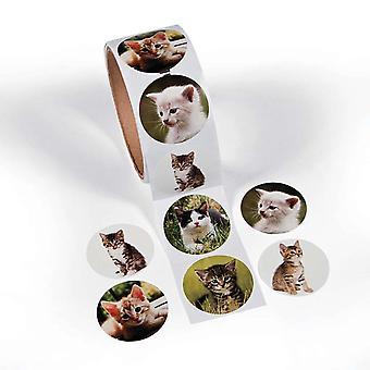 Rolka 100 kotek zdjęcie naklejki dla dzieci rzemiosła | Naklejki dla dzieci rzemiosła