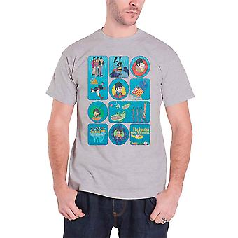 The Beatles T Shirt Yellow Submarine Montage band Logo Official Mens Grey