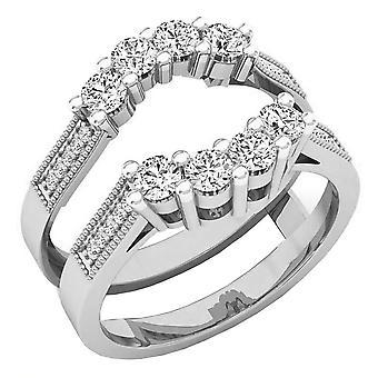 Dazzlingrock Collection 0,85 Carat (CTW) 10K rund hvid diamant damer bryllup dobbelt ring, hvid guld
