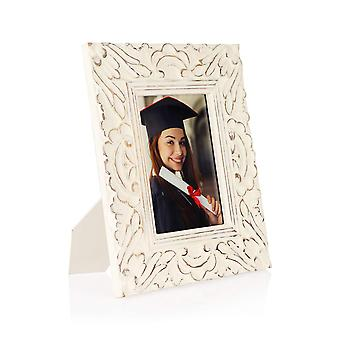 Penguin Home Handcrafted Mango wood Picture Frame Floral Design