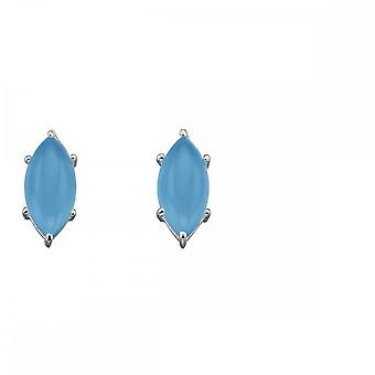 Elements Silver Marquise Cab Blue Chalcedony Earrings E5701T