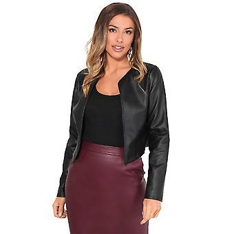 KRISP Frauen Damen PU Leder geschnitten Jacket Open Blazer Long Sleeve Bolero Shrug Coat