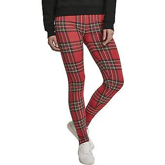 Urban Classics dames-tartan print legging rood