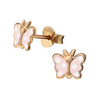 Butterfly - 925 Sterling Silver Colourful Ear Studs - W38211X