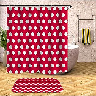 Red Background Polka Dot Shower Curtain