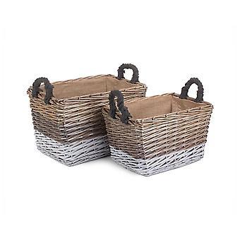 Conjunto de 2 cestas de almacenamiento de mimbre de mimbre de tres tonos rectangulares forradas