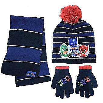 Beanie Cap - PJ Mask - Black/Blue w/Scarf & Glove Set Hat 365193