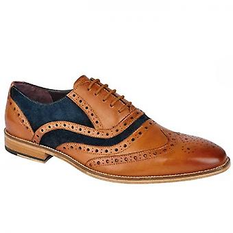 Roamers Russell Mens Contrast Leather Brogue Shoes Tan/navy